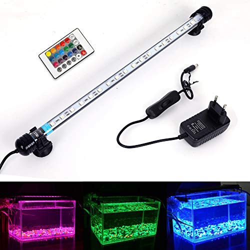 MLJ RGB Aquarium Beleuchtung, LED Aquarium Leuchte 37 cm Wasserdicht Aquarium Lampe Stecker EU...