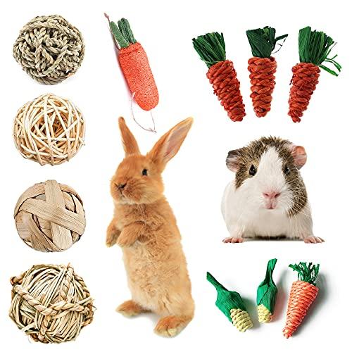 11 Stück Kaninchen Kaubälle, Kleintiere Kauspielzeug, Natürliche Heu Ball Molar Kauspielzeug Für...