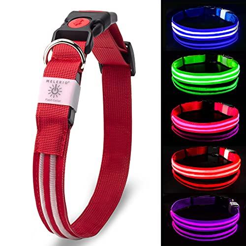 MELERIO LED Leuchthalsband Hundehalsband USB Wiederaufladbar Wasserdicht Halsband Hund Klein Groß Mittel...