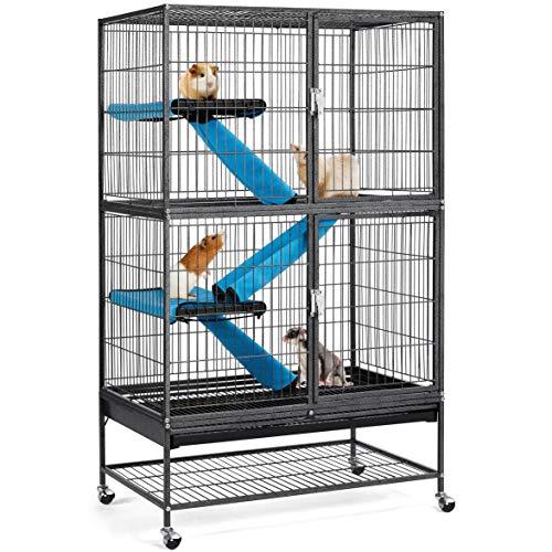 Yaheetech Kleintierkäfig, Metallkäfig für kleine Haustiere, Kaninchenstall mit 4 Räder, Käfig mit 2...
