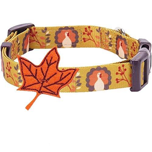 Blueberry Pet Herbst Fest Mondheller Truthahn Designer Hundehalsband mit Deko, Hals 30cm-40cm, S,...
