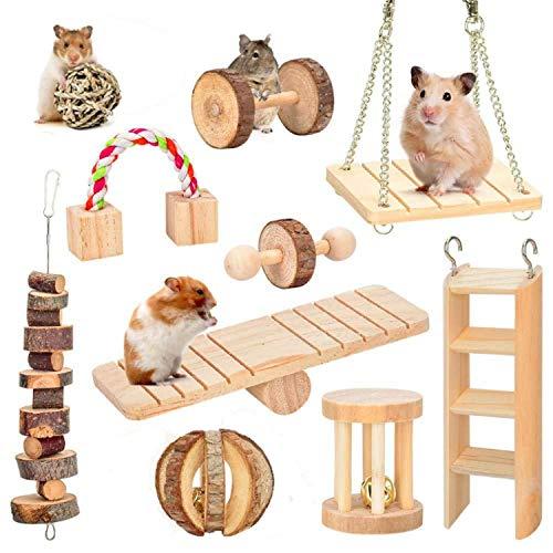 LKJYBG Hamster-Kauspielzeug, natürliches Holz, 10 Stück, Hanteln, Übungsglocke usw. Zahnpflege,...