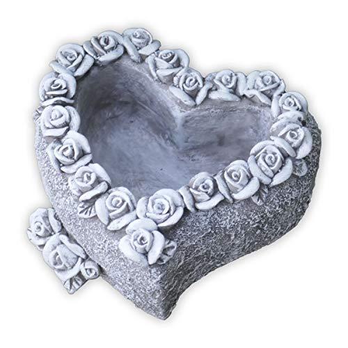 SHACAMO Grabschmuck Pflanzschale in Herzform mit Rosen verziert