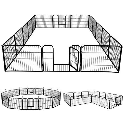 Yaheetech Welpenlaufstall Freigehege Welpenzaun Gehege Laufstall mit 2 Türen, aus 16 Panelen je Panel 80...
