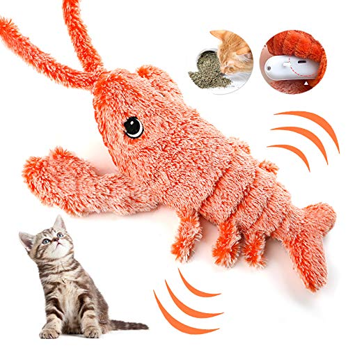 Dorakitten Elektrisches Spielzeug für Katze, Spielzeug mit Katzenminze USB Elektrisches Plüsch Garnele...