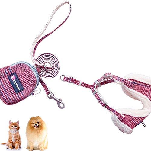 N-brand H-Style Katzengeschirr mit Leine Tasche Set, Verstellbar Zugfrei Kleine Hunde Weste Geschirre...