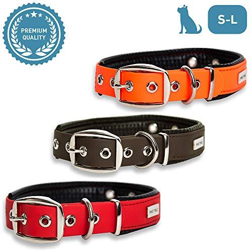 PetTec Hundehalsband aus Trioflex™ mit Polsterung, Wetterfest, Wasserabweisend, Robust (Rot, Braun,...