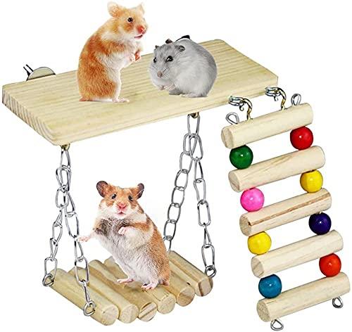 Yontree Hamster Spielzeug, Natürliches Meerschweinchen Holz Übung Spielzeug Kleintierspielzeug für...