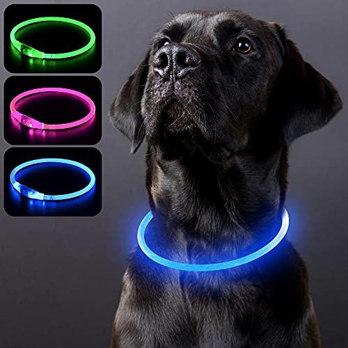 PZRLit Leuchthalsband Hund Aufladbar, Leuchtendes Hundehalsband Leuchtend Wasserdichtes, LED Halsband...