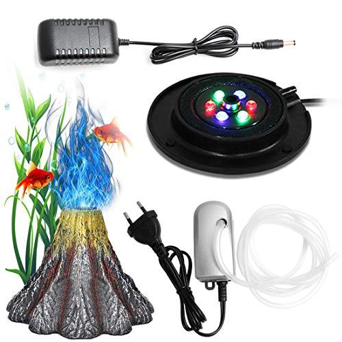 Aquarium Vulkan Form Luftblase Stein Sauerstoff Pumpe LED Lighting Farbwechselnden Aquarium Licht Fisch...