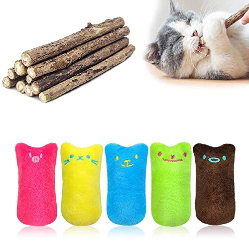 MOULLY 5 Stück Katzenminze-Spielzeug+10 Stück Katzenminze Sticks, Katzenminze-Spielzeug, Oreiller,...