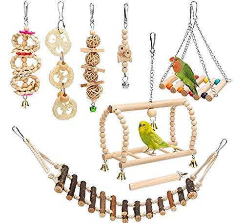 Ototon 8-teiliges Set Vogelspielzeug, zum Aufhängen, aus Naturholz, Spielzeug-Schaukelbrücke, Leitern,...