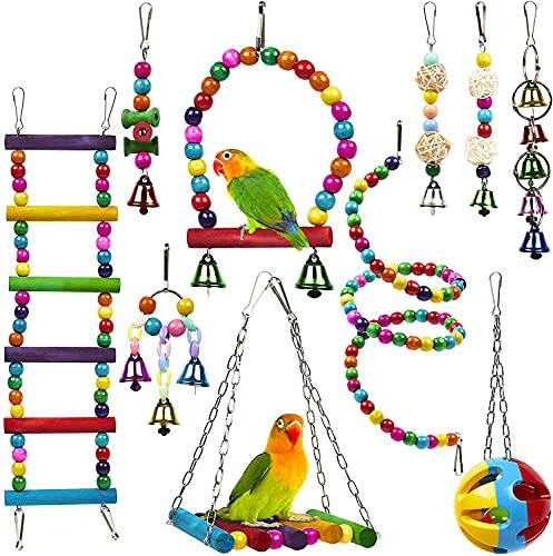 Anobel 10 Stück Vogelspielzeug für Papageien Wellensittiche Finken Sittiche Aras & Nymphensittiche -...