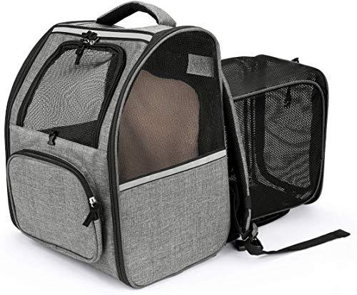 CatRomance Hunderucksack Haustier Rucksack, Erweiterbare und Faltbare Katzenrucksack mit Mesh,...