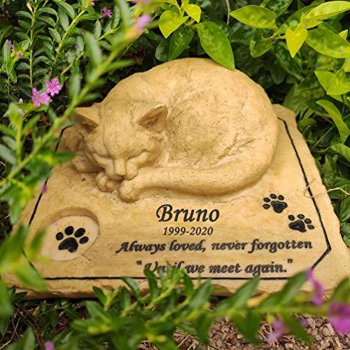 Katze Gedenkstein Haustier Grabstein Katze Wunderschöne Erinnerung für Dein Haustier,Personalisierte...