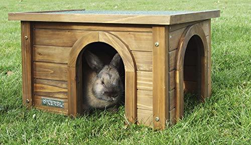 Kerbl Nagerhaus für Kanninchen (Haus aus Spießtanne, mit wetterfestem Bitumendach, zwei Eingänge für...
