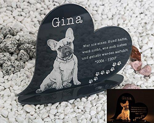 Gedenkstandbild Gedenktafel mit Gravur Fotogravur Grabstein Tiere Herz liegend in 2 Größen Grabschmuck...