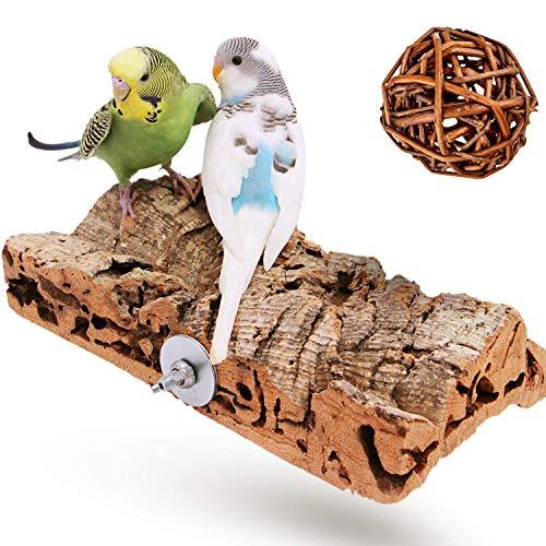 Vogelgaleria Premium Korksitzbrett für Vögel wie Wellensittich Nymphensittich & GRATIS Knabberball |...