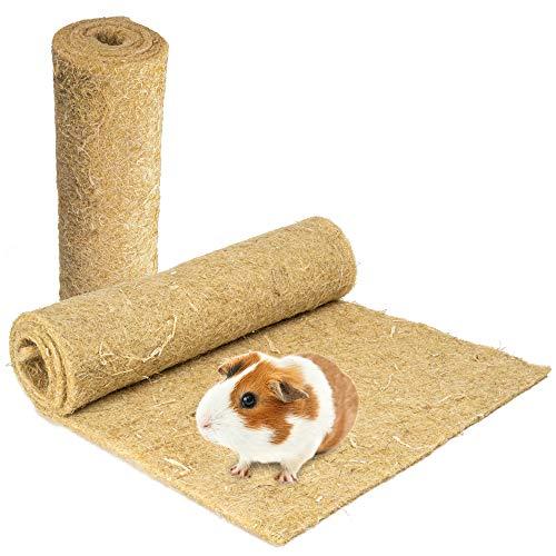 Nagerteppich aus 100% Hanf, 120 x 50cm, 5mm dick, 2er Pack, Hanfteppich für alle Arten Kleintiere,...