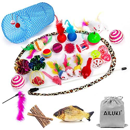 AILUKI 31 Stück Katzenspielzeug Set mit Katzentunnel Jingle Bell Katzen Spielzeug Variety Pack für...