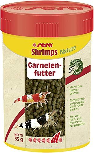 Sera shrimps Nature 100 ml das Granulat mit u.a. Spirunlina und Erlenzapfen für Garnelen im Süß- &...