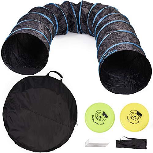 Premium Hundetunnel mit Aufbewahrungstasche (Groß 545x60cm), 2 Frisbees, 8 Erdnägel mit Tragetasche|...