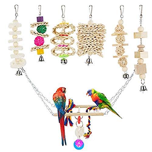 Locisne 7er Pack Vogel Papageien Käfig Spielzeug, Holz hängen Bell Swing Shredding Kauen Barsche...