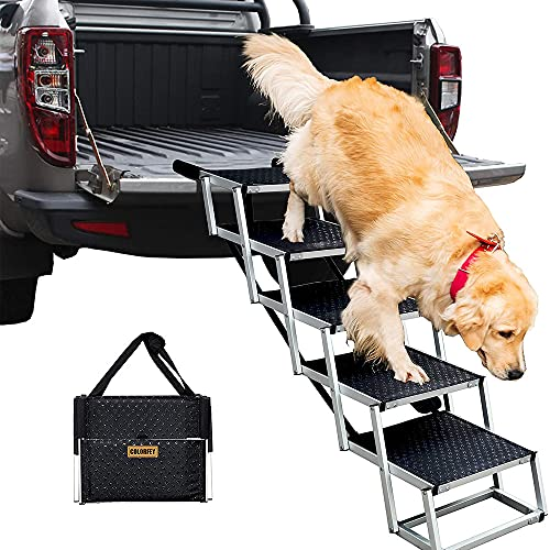 COLORFEY Klappbar Hundeautorampe Hunderampe für große Hunde Aluminium-Teleskop Hundetreppe für...