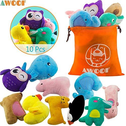 AWOOF 10 Pack Hundespielzeug Welpenspielzeug Hund Quietschspielzeug, Welpen Zahnen Spielzeug, Haustier...