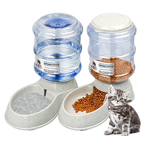 KORIEMFA Automatischer Futterspender Katze/Hunde Wasserspender Haustier Automatischer...