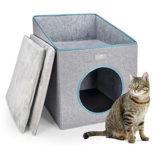 PUPPY KITTY Faltbare Katzenhöhle mit Terrasse, Kuschelhöhle für Katze & Hunde mit Super Weichem...