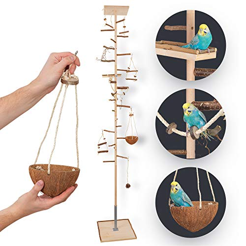 Zimmerhoher Vogel-Kletterbaum 190-192 cm HiFly Medio mit Naturholz-Sitzstangen, Vogel-Spielzeug,...