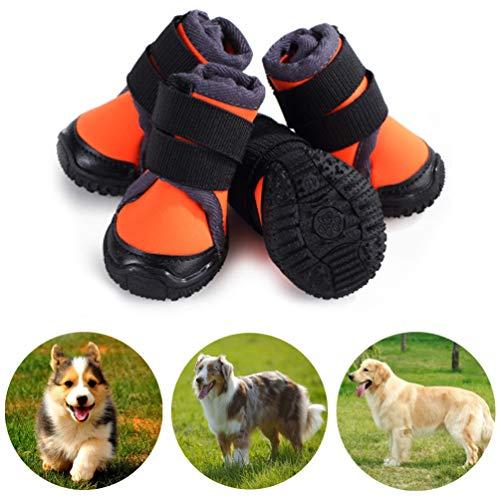 Petilleur 4Pcs Hundeschuhe rutschfeste Hundeschuhe Pfotenschutz für Aktivitäten im Freien (80, Orange)