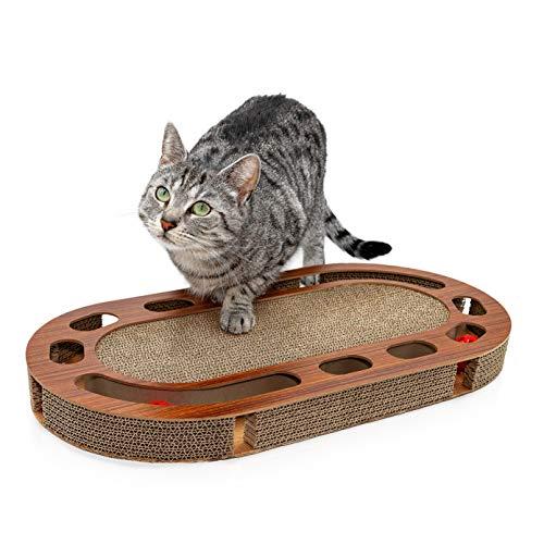 Pfotenolymp® Katzenspielplatz - interaktives Katzenspielzeug/Kratzbrett aus Wellpappe - Kratzpappe -...
