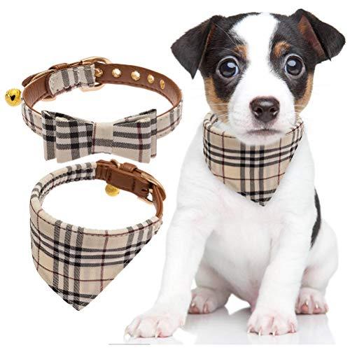 BINGPET 2 Stücke verstellbare Bowtie kleine Hundehalsband und Karierten Bandana Kragen mit Glocke Leder...
