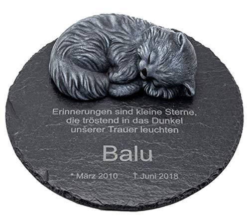 Tiefes Kunsthandwerk Gedenktafel aus Schiefer mit schlafender Katze für Dein Haustier, mit Wunschtext...