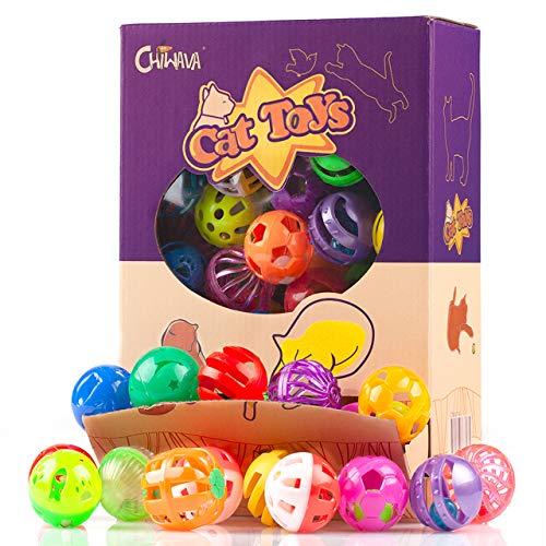 48 Stück Plastikglocke Katzenball Chiwava Katzen Kätzchen Verfolgung Spielzeug Größe 1,6 '~ 1,8' 8...