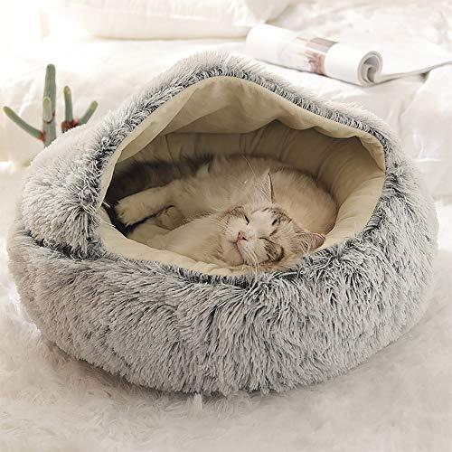 Nobrands flauschiges Katzenbett, rund, weiches Plüsch, Höhle mit Kapuze, Katzenbett, für den Winter,...