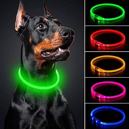 LED-Hundehalsband, Mini-USB, wiederaufladbar, TPU, leuchtend, wasserfest, für kleine, mittelgroße und...