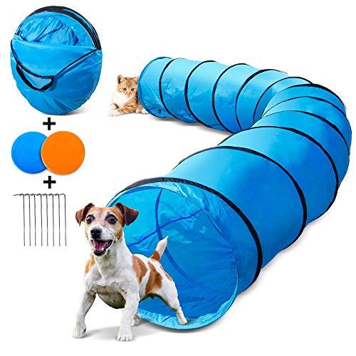 Masthome Hundetunnel 60cm x 505cm, Spielzeug Tunnel für Hunde und Katze mit 2 Fliegende Scheibe und...