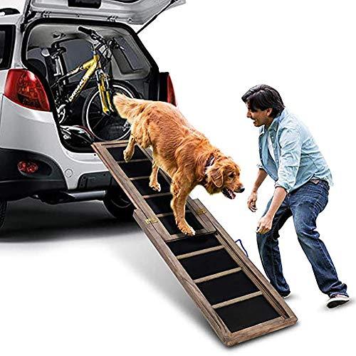 BELS Hunderampe für große Hunde Teleskope, rutschfeste tragbare Hunderampe fürs Auto, Massivholz...