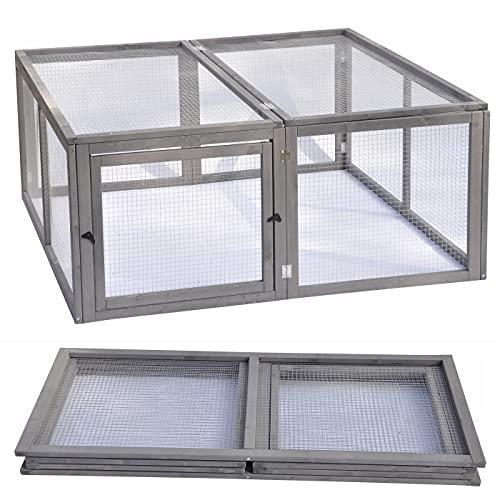 nanook Kleintierstall Kaninchen Freigehege Freilauf Square - faltbar - grau - 120 x 120 x 50 cm