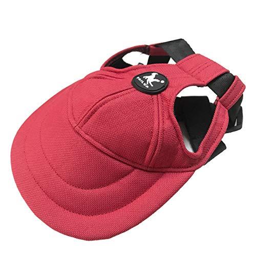 Baseballkappe für Haustiere, verstellbar, mit Ohrenlöchern und Kinnriemen, für kleine und mittelgroße...