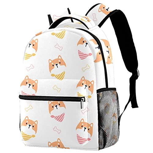 GYGYGY Hund mit Halsband, Schulrucksack Schultasche Nette Bookbags Rucksack Laptop Rucksack...