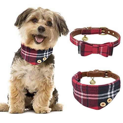 Tacobear 2 Stücke Hundehalsband Leder Katze Halsband Verstellbare Hundehalsband mit Fliege Halstuch und...
