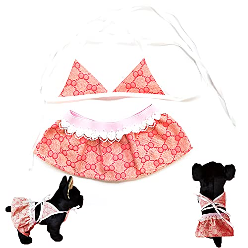 Qingsi 1 Set Haustier Bikini Katze Welpen Strandkleid Lustige Welpen Badekleid Haustier Bikini Badeanzug...