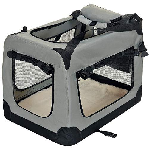 PET VIOLET Transportbox Hundebox Faltbar Katzenbox Hunde Tragetasche 70x52x50 cm, Grau