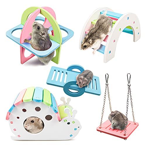 S-Mechanic 5 Stück Hamster Spielzeug, Hamster Haus DIY Regenbogenbrücke Wippe Schaukel und...
