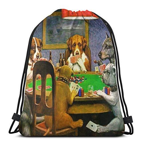 WH-CLA Drawstring Bags Hunde Spielen Poker Strandtasche Aufbewahrung Cinch Taschen Casual Print Outdoor...