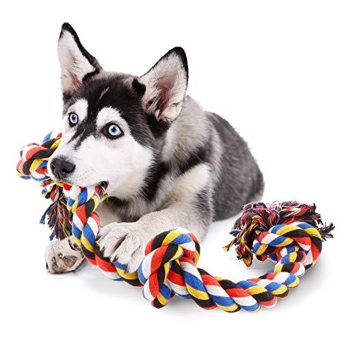 COCHIE Hundespielzeug Seil für Große Hunde, Spielzeug Hund Tau mit 4 Knoten 100CM, Unzerstörbar...